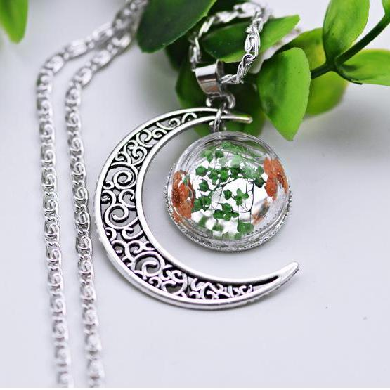 The moon hollow hemisphere cover glass flower Silver Necklace
