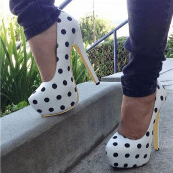 Polka Dot Rounded Toe Stiletto High Heel Pumps