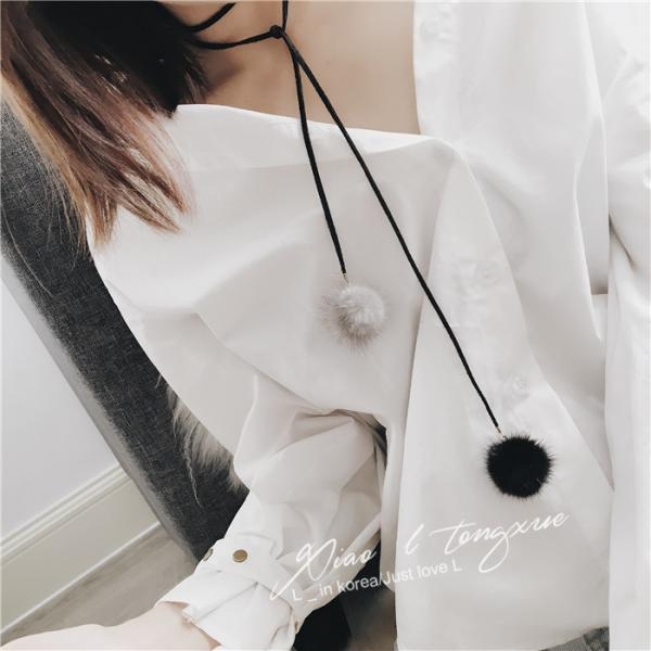 Fashion mink hair ball Long Necklace
