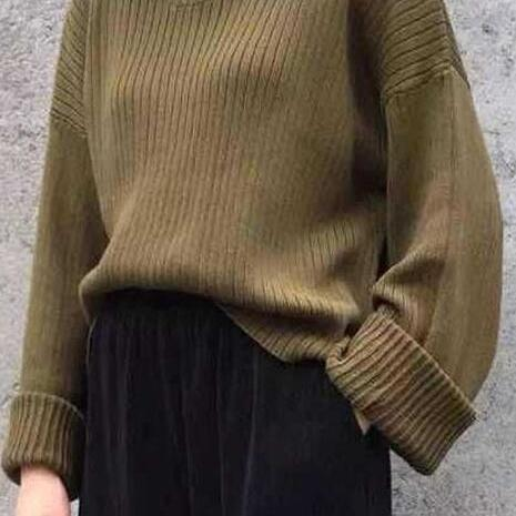 Retro Loose Ribbed Knit Bell Long-Sleeved Sweater