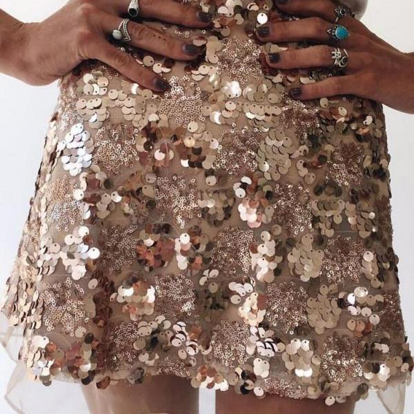 Sexy Sequins Patchwork A-Line Mini Skirt