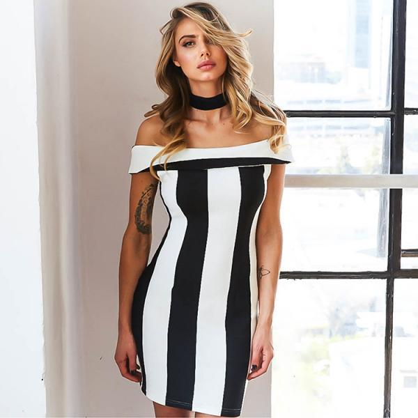 Sexy Black and White vertical Stripes Off Shoulder Slim package Hip Dress