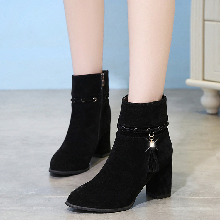 c63a6cfcb478 Suede Pure Color Chunky Heel Round Toe Tassel Boots on Luulla