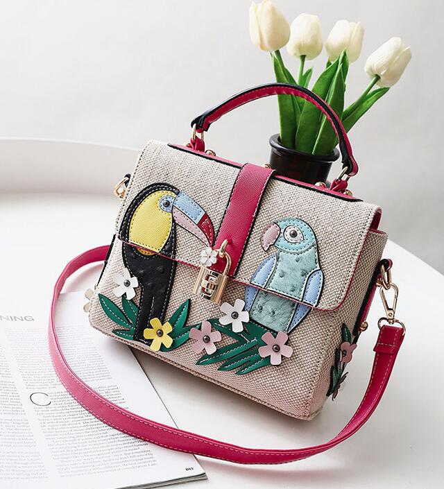 12c6fff87ab Flower-And-Bird Printing Knitted Crossbody Bag